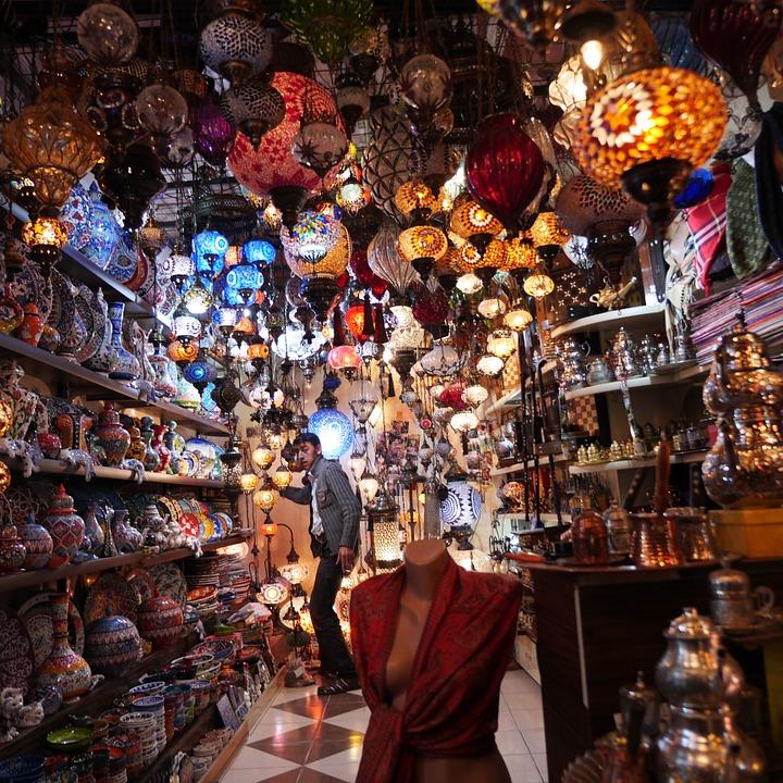 lámparas turcas en el Gran Bazar