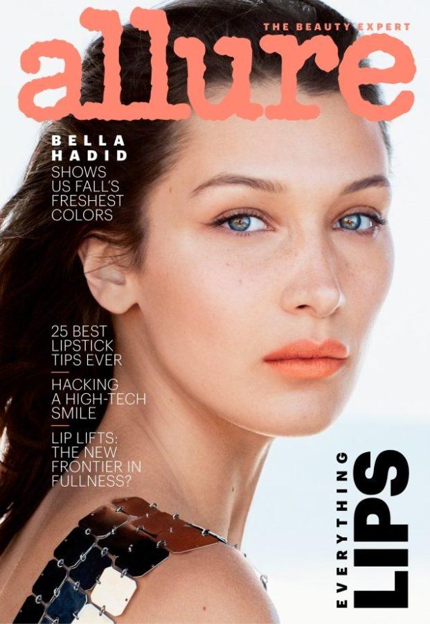 Bella Hadid con labios coral para Allure