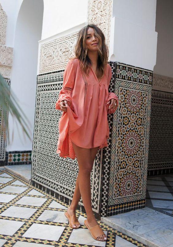 Vestido color coral