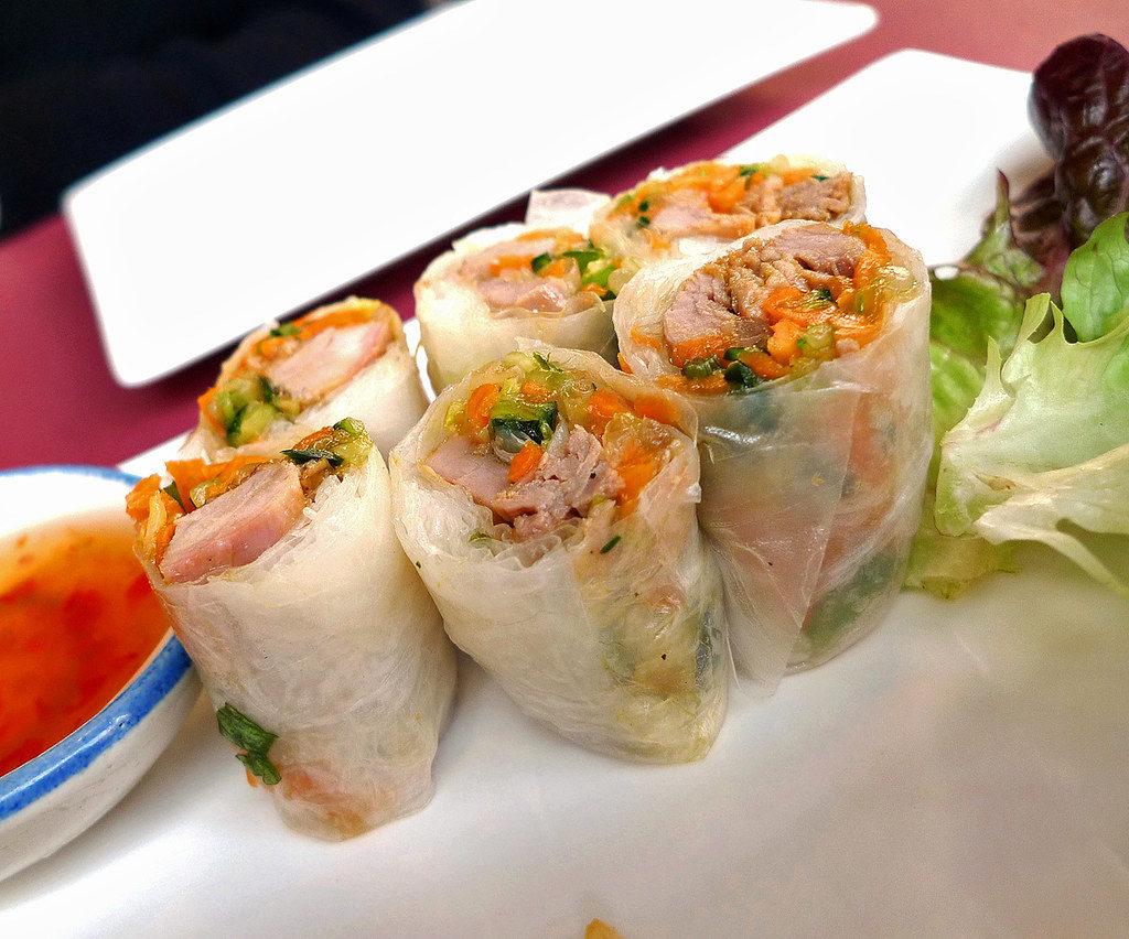 Rollitos para vegetarianos en el Petit Bangkok